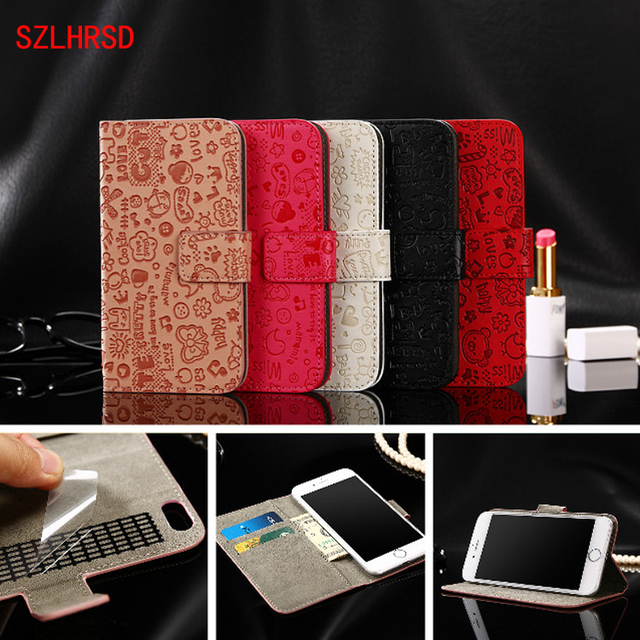 new arrival 8f336 47e01 US $4.14 17% OFF|SZLHRSD New PU Leather case For Vertex impress Funk cover  for Oppo Realme 2 Wallet Flip cover coque capa phones bag for Zoji Z33-in  ...