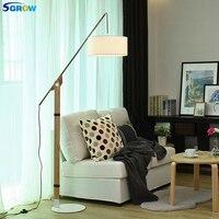 SGROW ткани абажур торшеры гладить Базы Стоя светильник для Спальня Гостиная исследования Регулируемый Рыбалка Дизайн лампа