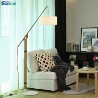 SGROW Fabric Lampshade Floor Lamps Iron Base Standing Light Fixture for Bedroom Living Room Study Adjustable Fishing Design Lamp