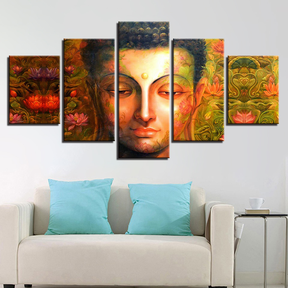 Modular Vintage HD Printed Framework Pictures Home Decoration Paintings On Canvas 5 Panel Buddha Wall Art For Living Room