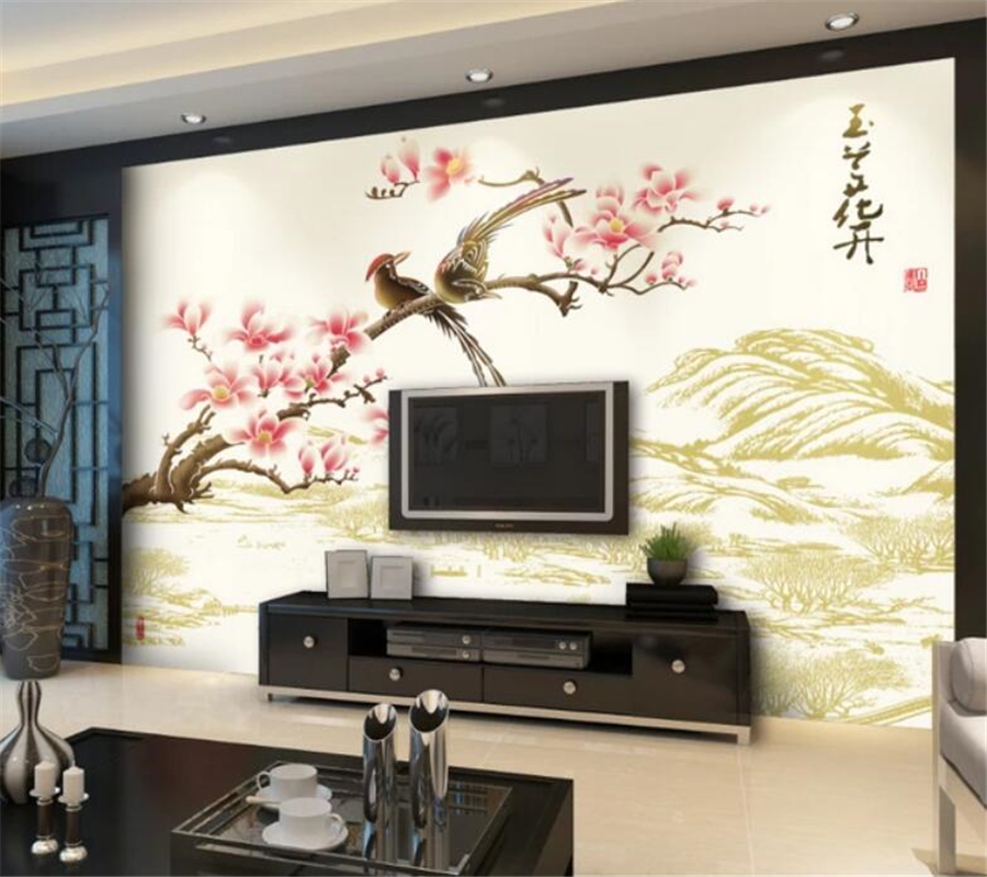 beibehang Custom Photo Wallpaper 3d photo Mural Magnolia Flower Color Sculpture Living Room TV Wallpaper Design papel de parede in Wallpapers from Home Improvement