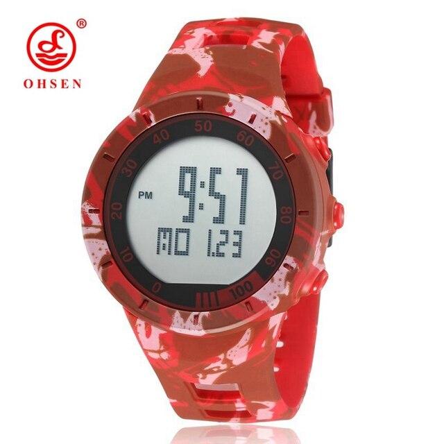 3520cc9bffb NEW OHSEN Digital Watch Men Male Wristwatch Red Rubber Strap Alarm Date LCD  50M Waterproof Sports Watches Men Relogio Masculino-in Digital Watches ...