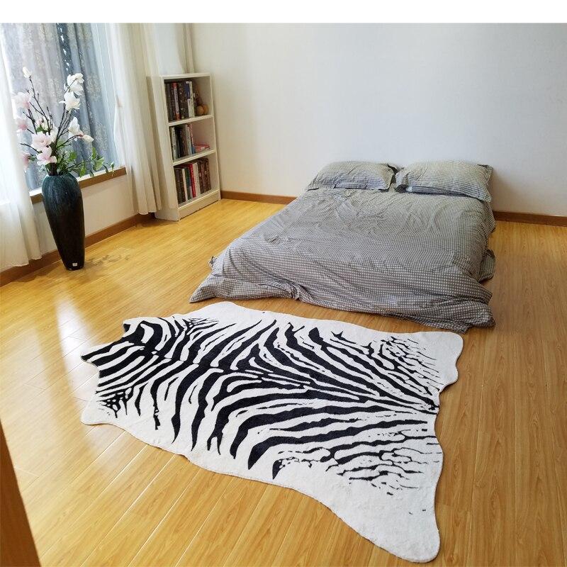 Zèbre imprimé tapis animal faux peau peau de vache tapis Grande Taille 2X1.4 m noir blanc mat Imitation Cuir Tapis pour les vêtements magasin