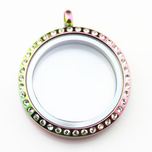 10PCS/lot 30mm Rainbow Stainless Steel Magnetic Floating Locket With Rhinestone Charms Memory For Women Jewelry