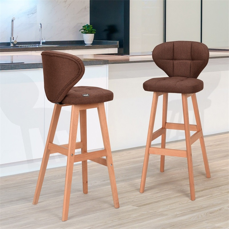 Set Of 2 Brown Bar Stools Pub Chair Fabric High Quality Ergonomically Design Comfortable Backrest Wood Bar Stools HW59505