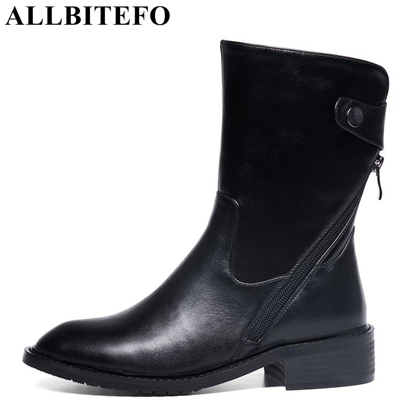 ALLBITEFO fashion casual genuien leather low-heeled martin boots thick heel high quality women boots girls boots size:34-41 цена 2017