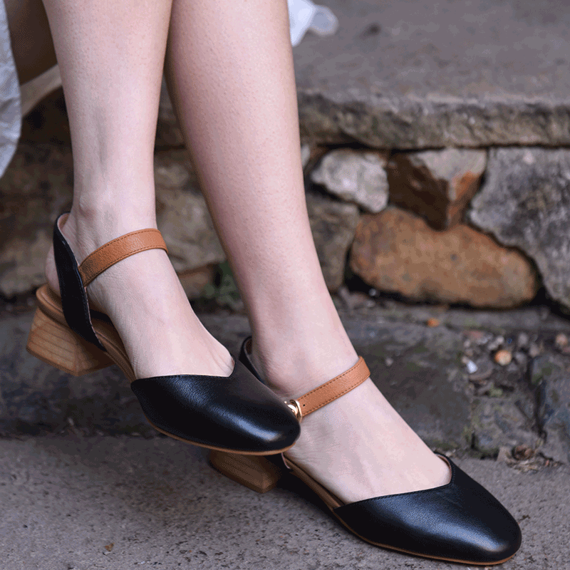 Véritable Talon Carré Main G206 La Artmu white Cuir Boucle En D'été Épais Black Bas Bout Femmes Nouvelle Chaussures Sandale À 11 WaTqtxPT8w