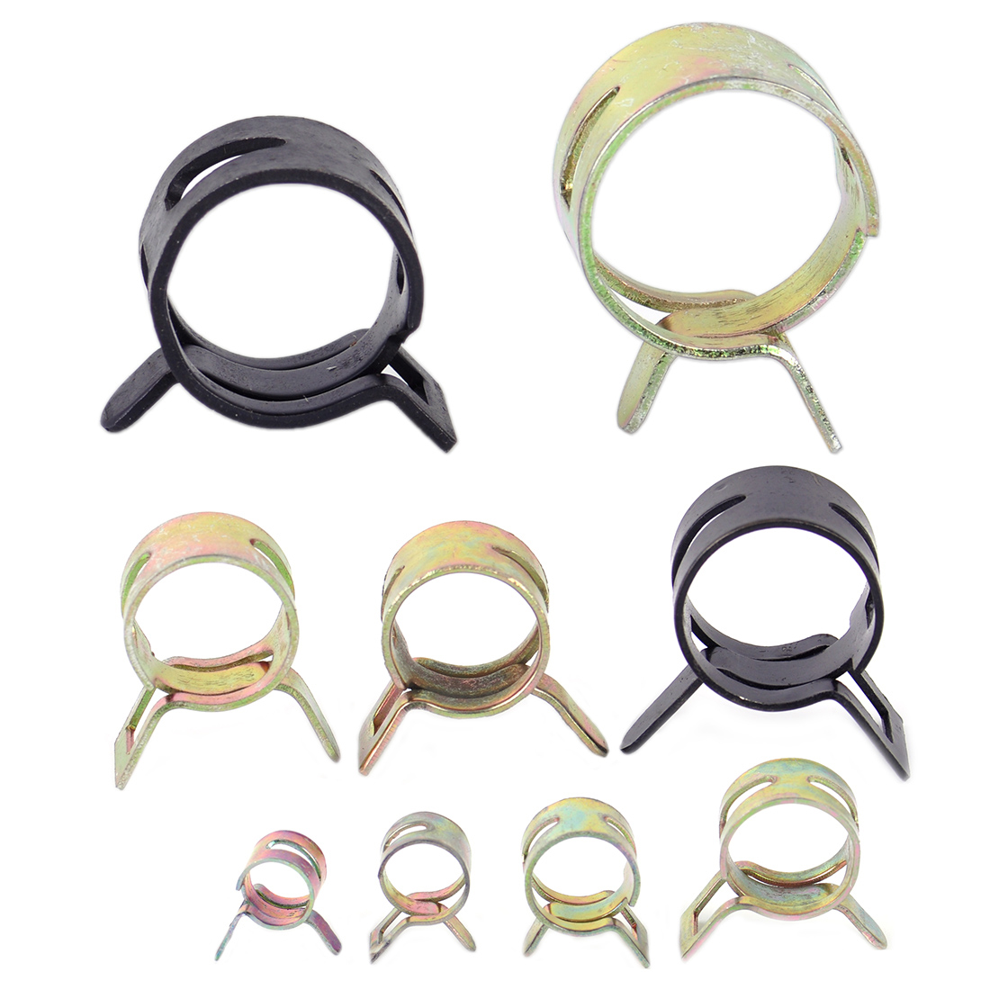 DWCX 90Pcs 8/10/12/14/15/16/18/20/22mm Spring Clip Vacuum Silicone Hose Clamp Fuel Water Pipe Air Tube Hose Clamp Fastener