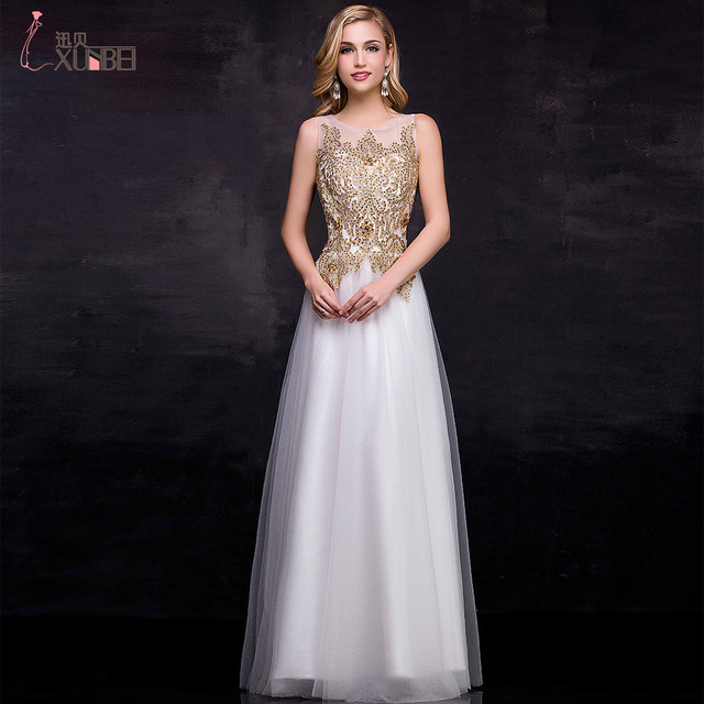 2748cdbac6a Elegant White/Ivory Prom Dress 2017 A-line Gold Lace Beaded Sheer Neck  Abendkleider 2017 Prom Evening Gowns Real Photos