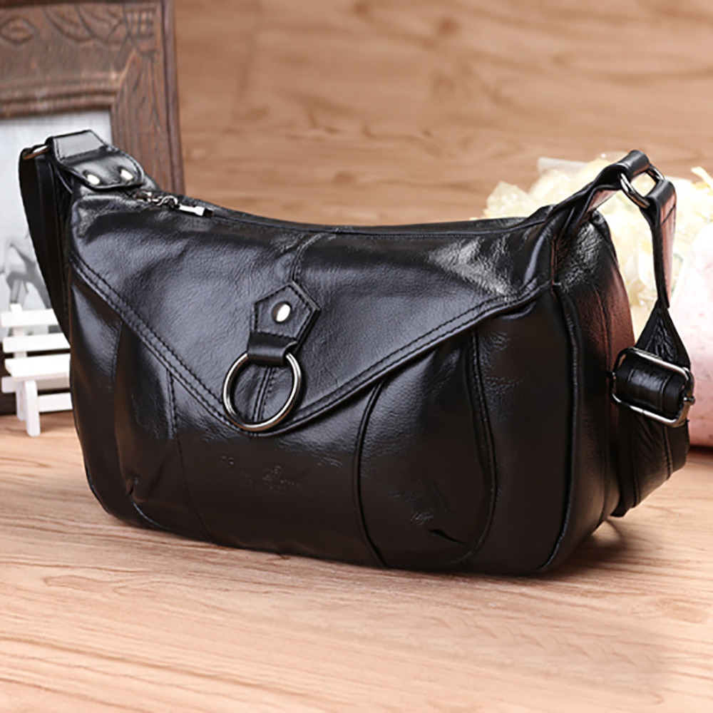 Fashion Women Genuine Leather Hobo Messenger Bag Famous Brand Cross Body Designer First Layer Cowhide Ladies Single Shoulder Bag