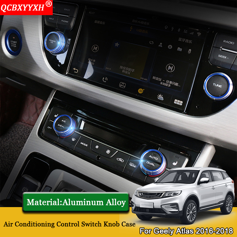 Car Styling 4pcs Car Air Conditioning Control Switch Knob Ring Case Sequins Automobiles Accessories For <font><b>Geely</b></font> <font><b>Atlas</b></font> 2016-<font><b>2019</b></font> image
