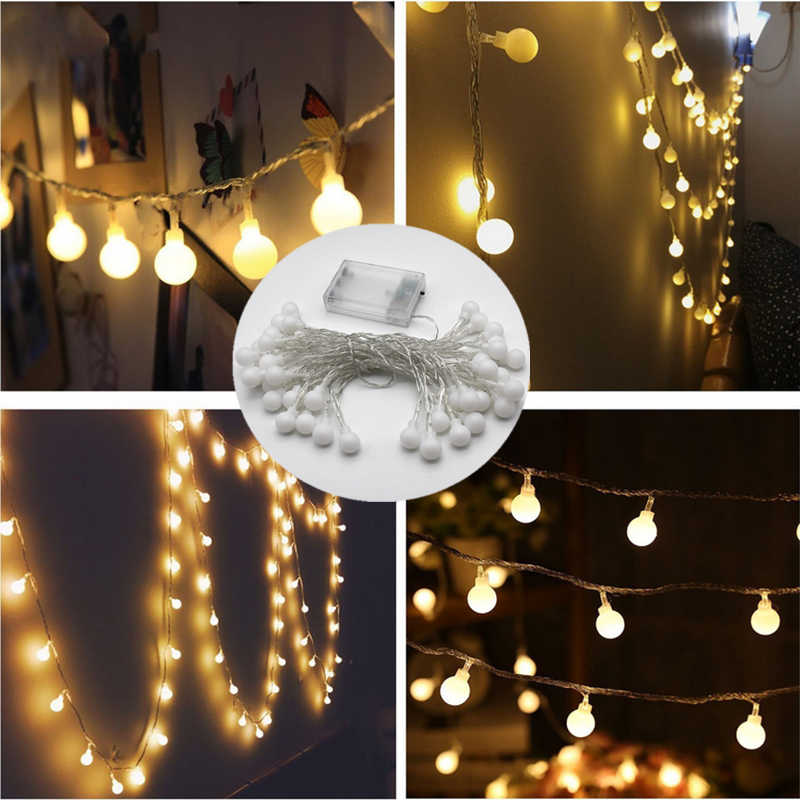 1.2M 3M 6M 10M Fairy Garland LED Ball String Lights Waterproof for Christmas Tree Wedding Home Indoor Decoration Battery Powered