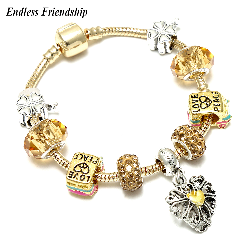 Cute Heart Dangle Diy Charm Bracelet Gold Color Snake chain with Bus Car Beads Pandora Bracelet for Women Jewelry Accessories