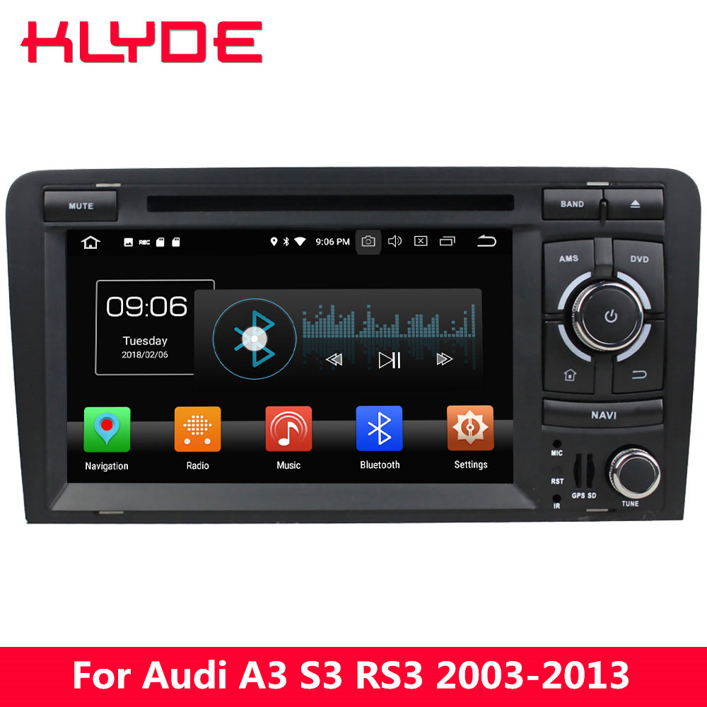 KLYDE 4G Octa Core PX5 Android 8.0 4GB RAM 32GB ROM Car DVD Multimedia Player Radio GPS Navigation For Audi A3 S3 RS3 2003-2013