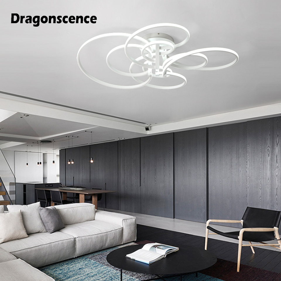 Dragonscence Modern Chandelier Led Lighting Remote Circle Chandelier Lamp For Living Room Business Salon Dining Office Lights & Lighting Ceiling Lights