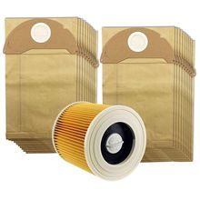 цена на -For Karcher Wet&Dry WD2 Vacuum Cleaner Filter And 20 Dust Bags
