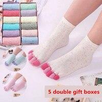 Autumn and winter toe socks female cotton short socks gift korean version of the cute cotton deodorant socks toe socks points