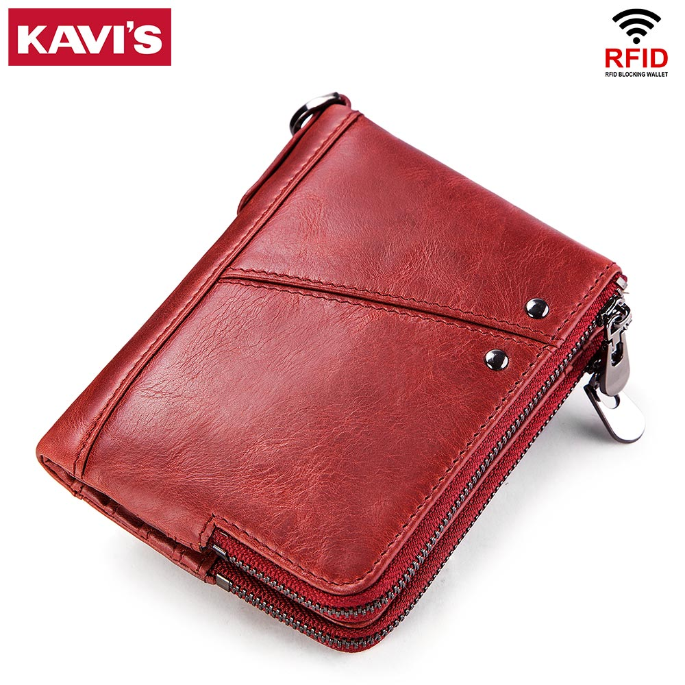 KAVIS Rfid Genuine Leather Women Wallet Female Red Coin Purse Small Walet Portomonee Vallet and Money Bag Lady Mini Card Holder kavis 2018 fashion small wallet female coin purse genuine leather women wallet mini portomonee lady luxury brand rfid red walet