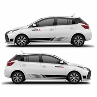 World Datong Sport Stripes Car Stickers For TOYOTA YARIS 13 18 car both side body sport auto stickers
