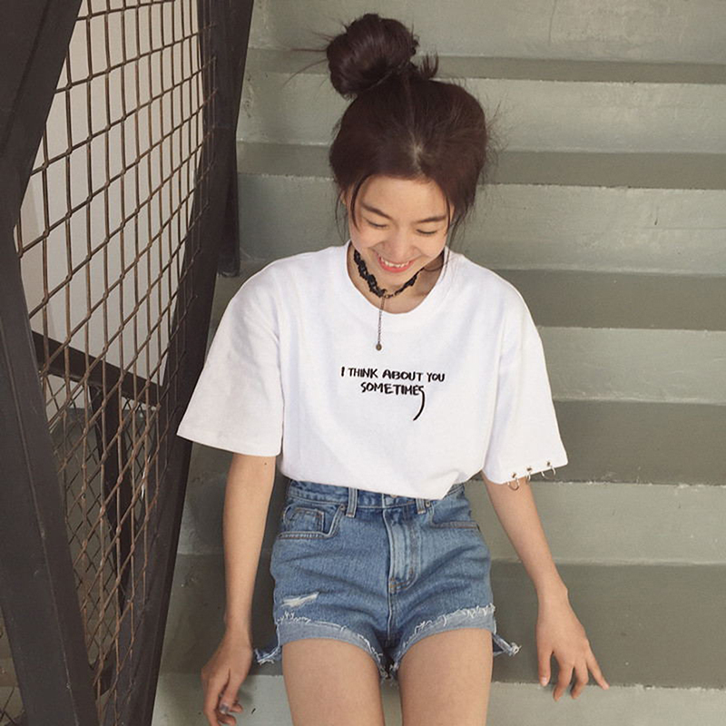 Bigsweety Summer Tops Korean Harajuku Letter Embroidery Short Sleeve Women Casual tShirts Female Tops Tees White Black T-shirt