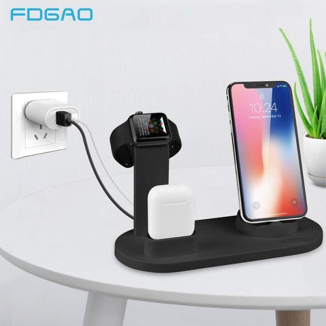 טעינת Dock תחנה עבור iPhone 11 פרו X XS XR מקסימום 7 8 בתוספת אפל שעון Airpods USB מטען Stand מחזיק בסיס עבור Samsung S9 S8