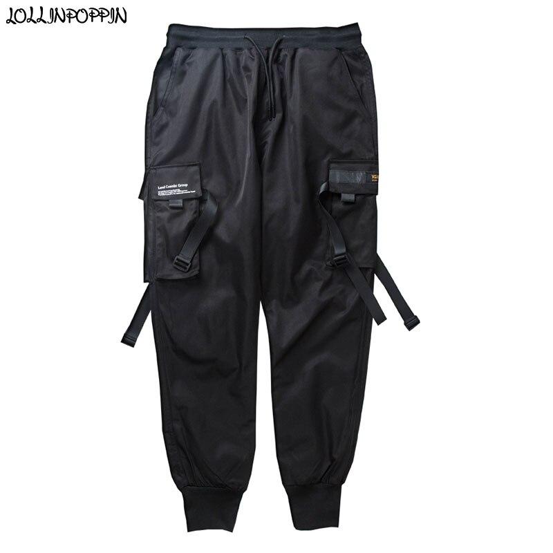 Punk hommes noir Cargo pantalon cordon taille élastique multi-poches hommes survêtement pantalon avec rubans Streetwear Hip Hop pantalon