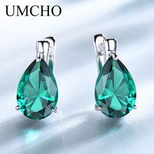 UMCHO Genuine 925 Sterling Silver Jewelry Water Drop Created Nano Emerald Clip Earrings For Women Anniversary Gift Fine