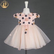 New Arrival Party Wedding Girls Dress Hand Nail Flowers Dress for 2Colors Bow Elegant Autumn Winter Dresses for Girls