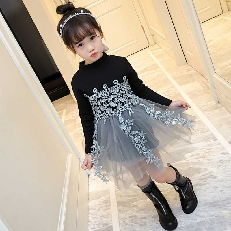 9269a43d710b31 Girls Layered Dress Long Sleeve Black Lace Voile Princess Dresses Spring  Autumn Tulle Vestido For Kids 3-7Years Ball Gown