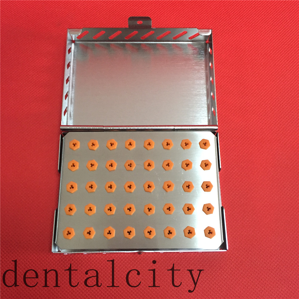 New Dental Implant Drill Bur 40-Holder Tray with Stainless Case Sterilization 1pc dental tool implant bur drill sterilization cassette kit organizer box new