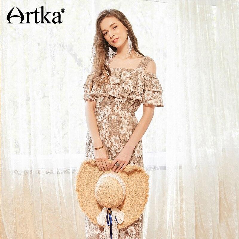 Ka10381x Dentelle Cou Large Sangle Artka Haute Vintage Floral Femmes Salopette Slash Taille 2018 Jambe Volants longueur Cheville Romantique D'été I8I1SU
