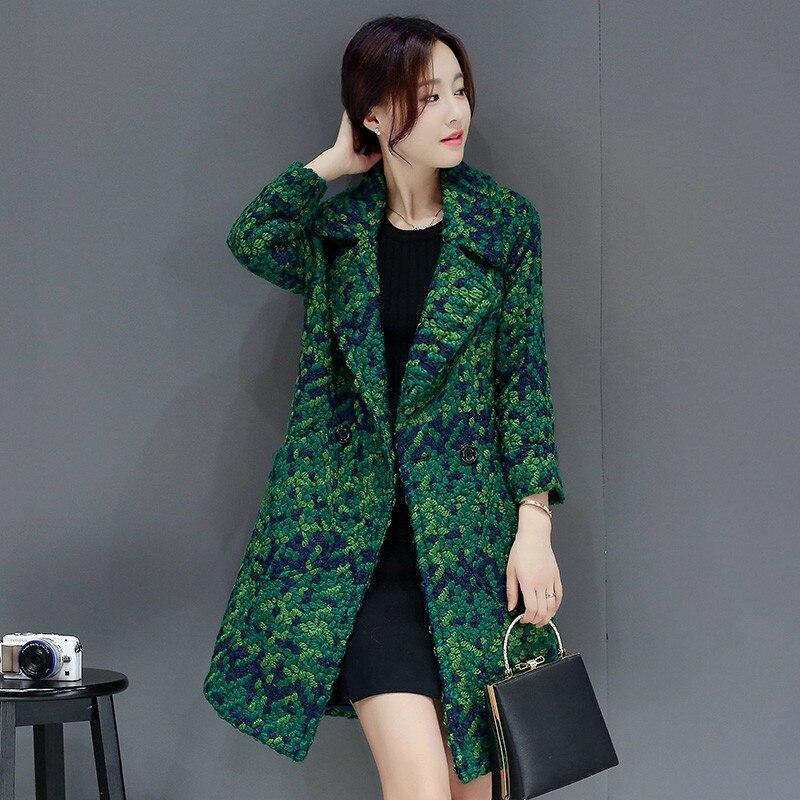 Manteau en laine vert femme