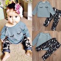 2016 комплекты детской одежды для маленьких девочек на осень и зиму из 2 предметов хлопковая рубашка с длинными рукавами топ + штаны комплект о...