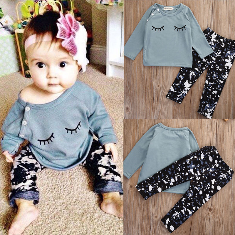 2016Baby 2PCS Autumn winter New baby girl clothes suit cotton long sleeve t-shirt tops+pants 2pcs newborn baby girls clothes set сандалии betsy 977784 01 01 черный р 37 ru