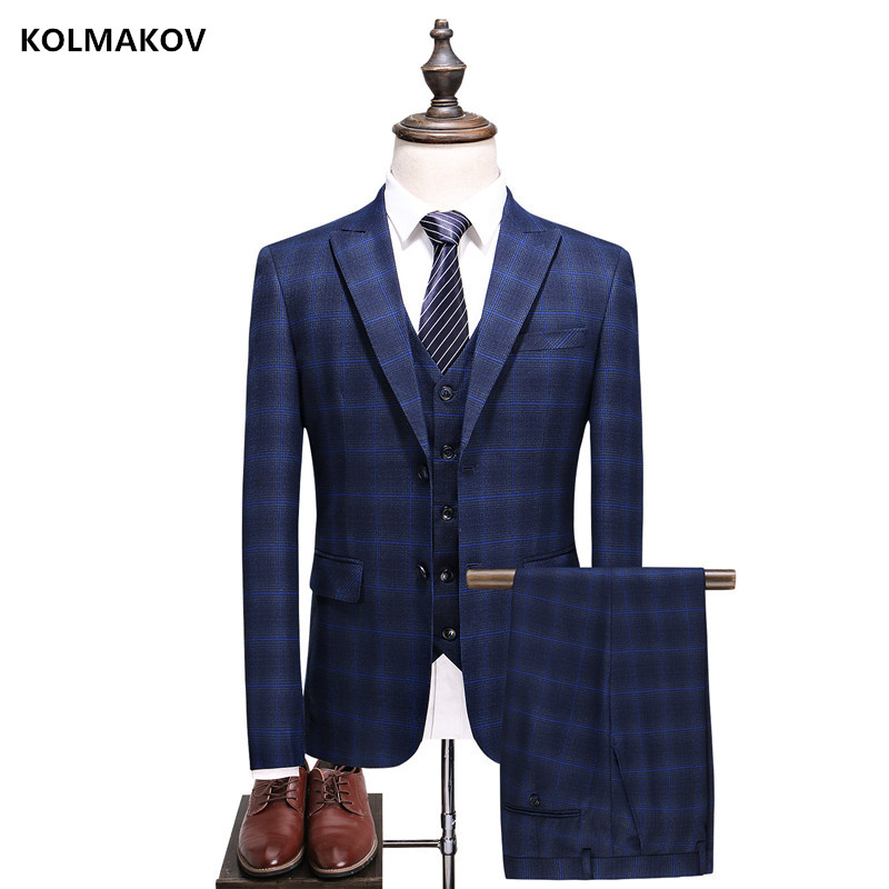 2018 Mens Blue Suits Fashion Formal Dress Men Suit Set men wedding suits groom tuxedos 3 piece (Jacket+Pants+Vest) Men