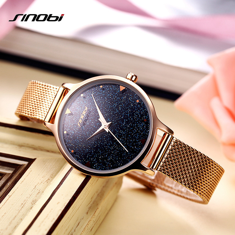SINOBI Brand Women Watches Rose Gold Mesh Band Quartz Reloj Mujer Luxury Dress Watch Ladies Black Dial Wrist Watch Montre 2017 new arrival watch women quartz watch gold clock women leatch watches viuidueture brand fashion ladies dress watches reloj mujer