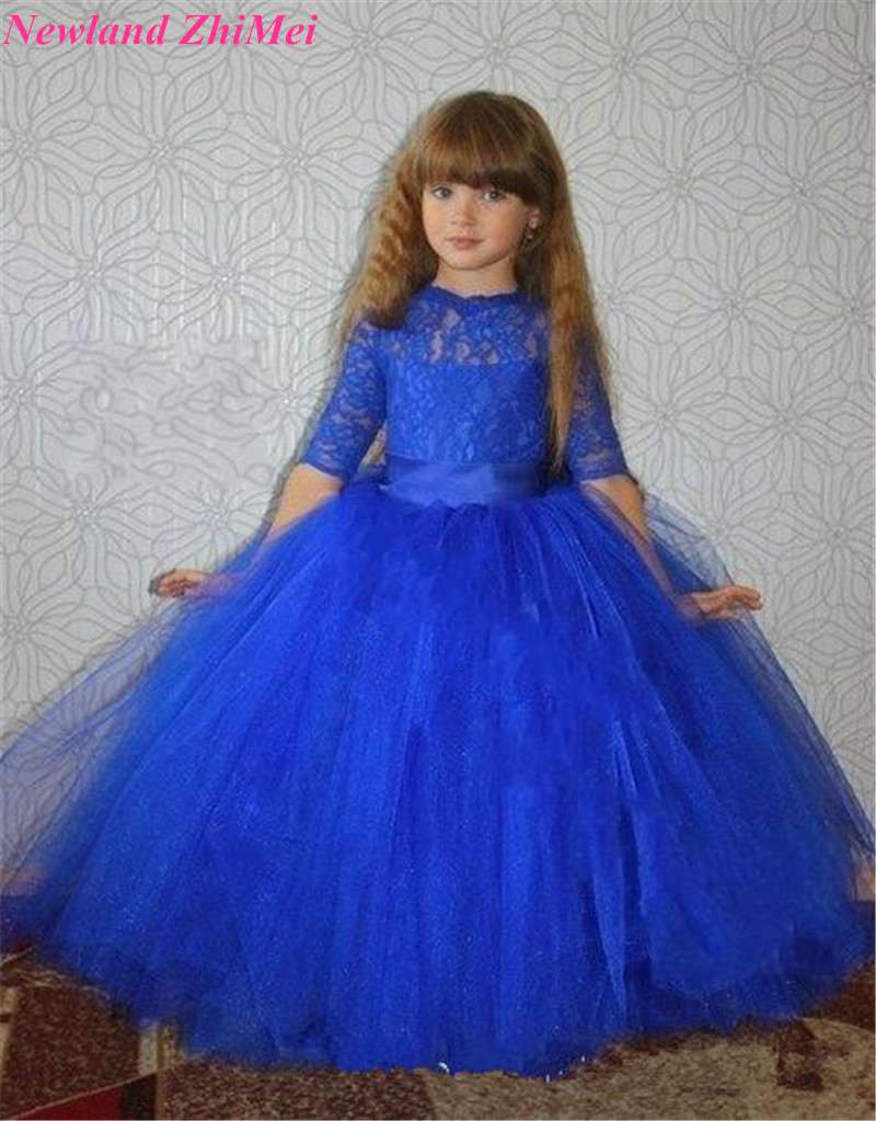 New Fashion Ball Gown Communion   Dresses   Floor Length Royal Blue Lace Tulle   Flower     Girl     Dresses   with Half Sleeves