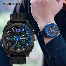 SANDA 2019 new mens sports digital watch fashion waterproof military male clock Relogio Masculino