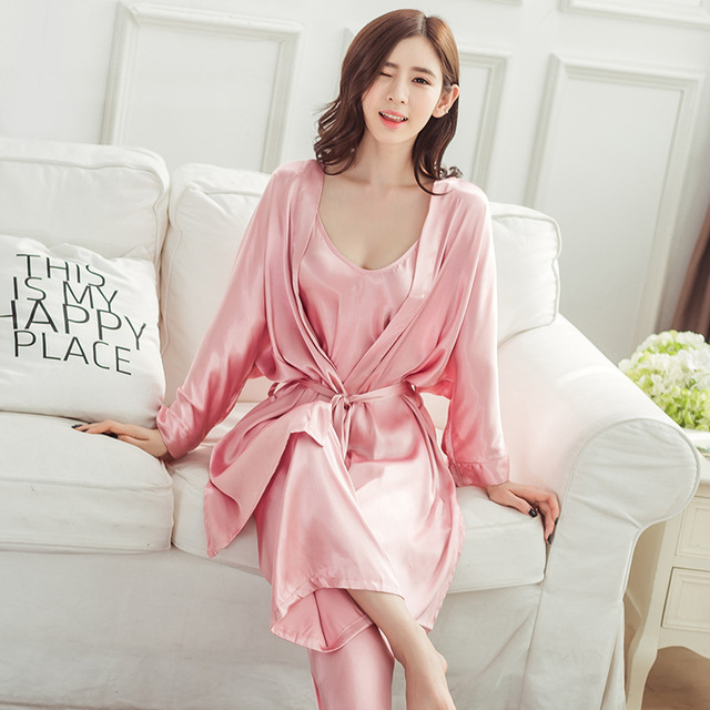 14d1c7c4a9 Tony Candice 3Pcs Set Satin Silk Womens Pajamas Set Sexy V-neck Ladies  Pyjamas Autumn