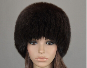 Luxury Women's Winter Warmest Real Fur Hat Fox Fur Knitted Hat Natural Color Silver Fox Fur Best Good Gift Mink Cap Wholesale