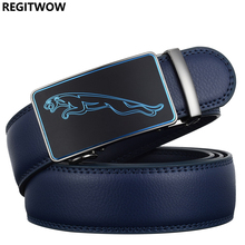 REGITWOW New Fashion Designer 3.5cm Belts for Men Sliding Buckle Ratchet Luxury Leather Men`s male Belt ceinture homme