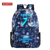 Cristiano Ronaldo Luminous Printing Backpack Glow CR7 Canvas Backpack Casual Backpack Star School Bags For Teenagers