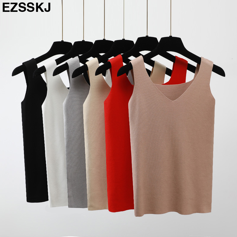Ezsskj Sexy Knitted Summer Tank top Women big size camisole Blouse Sleeveless V Neck