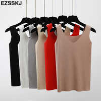 Sexy Knitted Top Summer Tank top Women big size camisole Blouse Sleeveless V Neck Slim Top Female t-shirt Vest Casual Camis