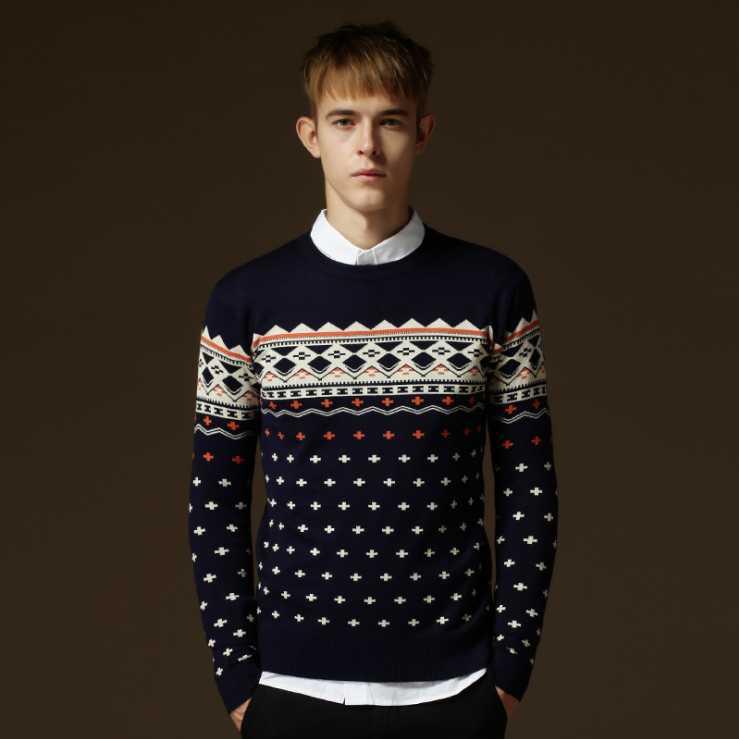 2015 otoño nueva hombres suéter largo manga del suéter de