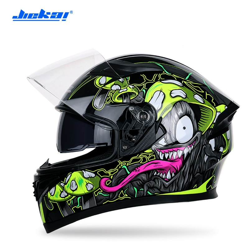 Jiekai Motocrycle hiver casques intégral course Motocross Protection casque chaud Moto Casco Double Len Capacete Da Motocicleta