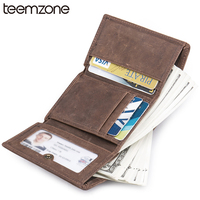 Teemzone RFID Blocking Leather Wallet Hasp Leisure Men Vintage Genuine Leather Mini Wallet Case Credit Card