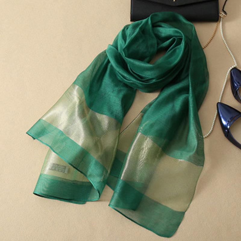 CoolCheer New Silk Scarves Elegant Silk Women Scarf Stitching Gold Silk Scarves Long Section Soft Shawl Muffler Organza Scarf
