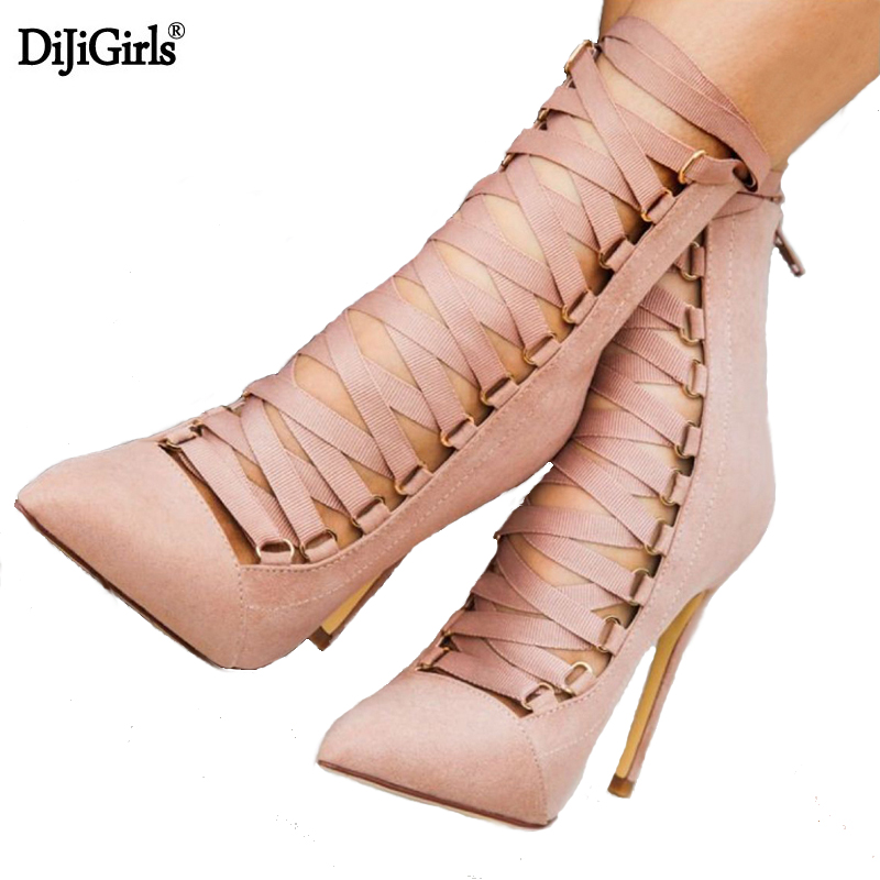 Dijigirls Black Gladiator High Heels Women Pumps Ladies Stilettos Open Toe High Heels Booties Fashion Women Shoes High Heel