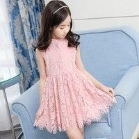 Summer Dress 2018 Kids Hollow Lace Vest Dress Baby Princess Sleeveless Dresses Children's Vestidos Clothing for 4 14Years Girls